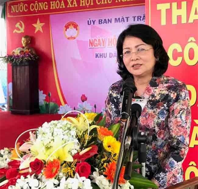 Phó Chủ tịch nước Đặng Thị Ngọc Thịnh phát biểu tại Ngày hội (ảnh LQ)