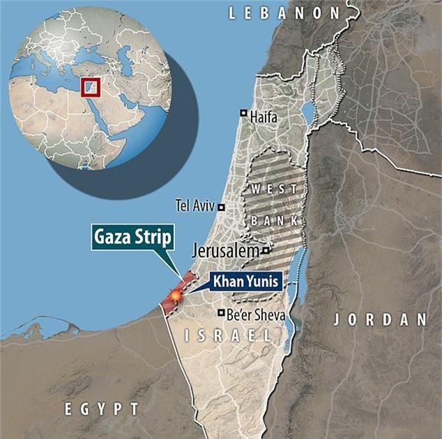 Giao tranh xảy ra ở khu vực phía nam Gaza. (Dailymail)