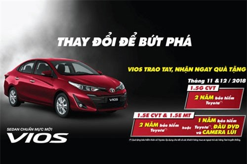 Ưu đãi dành cho khách hàng mua xe Vios.