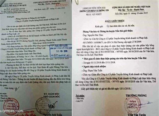 Văn bản của Sở VHTT&DL tỉnh Thái Bình và Giấy giới thiệu của Phòng Văn hóa và thông tin huyện Tiền Hải cho công ty CP truyền thông Kinh Doanh và Pháp Luật quảng cáo sản phẩm