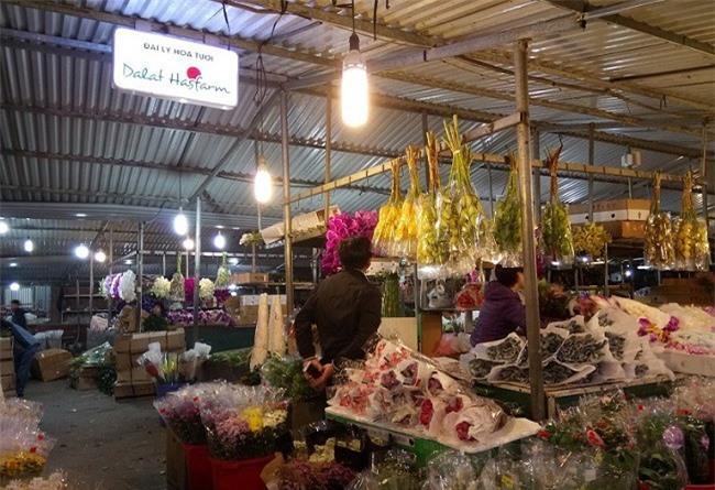 Đoàn công tác của Lâm Đồng khảo sát thị trường hoa Đà Lạt đang bán tại chợ Quảng Bạ, Hà Nội (Ảnh: Sở Công thương Lâm Đồng)