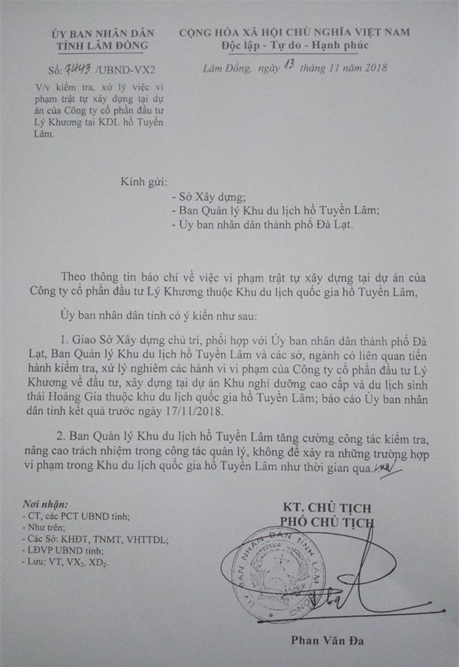 Văn bản chỉ đạo vụ việc của UBND tỉnh Lâm Đồng (Ảnh: VH)