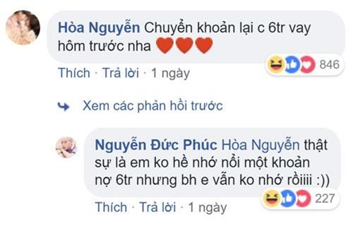 Hòa Minzy đòi nợ Đức Phúc ngay trên Facebook. Ảnh chụp màn hình.