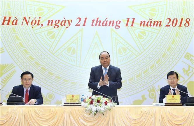 Thủ tướng Chính phủ Nguyễn Xuân Phúc chủ trì hội nghị. (Ảnh: TTXVN)