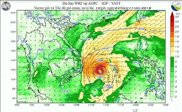 Mô phỏng mây trong bão trên Biển Đông bằng mô hình WRF ( ảnh do Viện Vật lý địa cầu cung cấp).