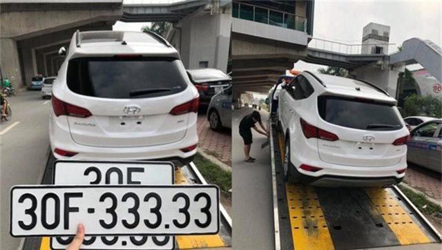 Vào tháng 8 vừa qua, một khách hàng mua Hyundai SantaFe đời 2018 tại Hà Nội đã may mắn bốc được biển số ngũ quý 3 siêu khủng 30F-333.33.