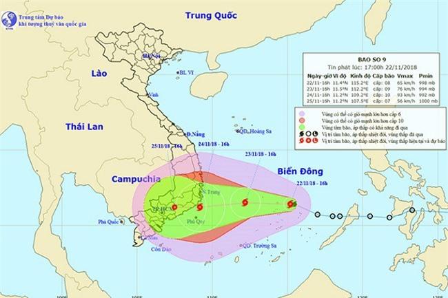 Dự báo hướng đi và vùng ảnh hưởng của bão số 9 (Ảnh: ST)