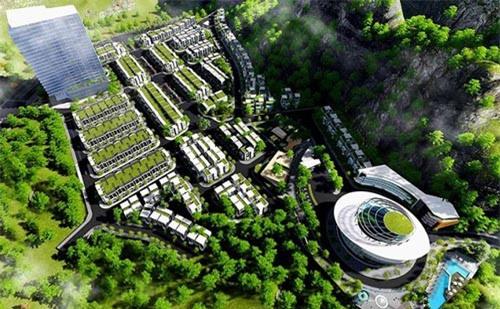 """Dự án Khu nhà ở cao cấp Hoàng Phú có """"hồ bơi vô cực"""" trên núi Cô Tiên của Công ty TNHH Đầu tư và Phát triển Thanh Châu (Ảnh: ST)"""