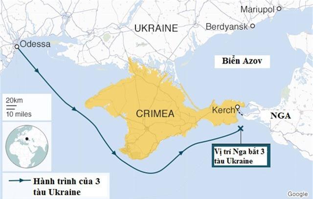 Hành trình của 3 tàu Ukraine bị Nga bắt giữ. (Ảnh: BBC)