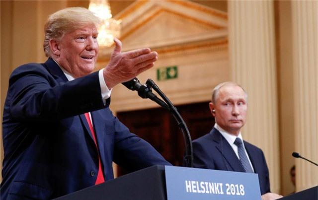 Tổng thống Mỹ Donald Trump và Tổng thống Nga Vladimir Putin tại cuộc họp báo sau hội nghị thượng đỉnh ở Helsinki hồi tháng 7/2018. (Ảnh: Reuters)