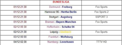 Lịch phát sóng vòng 13 Bundesliga. Ảnh: Bóng đá số.