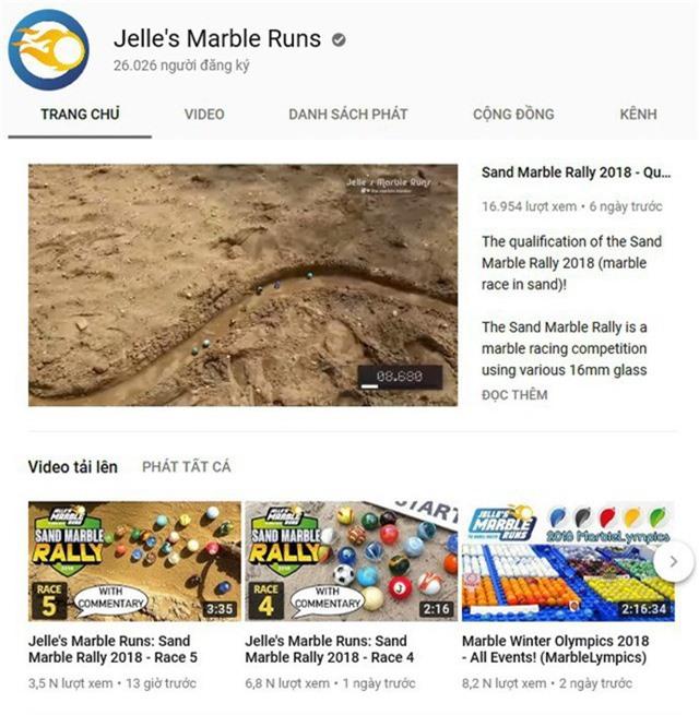 """Kênh Youtube """"Jelle's Marble Runs"""" đăng tải những video với nội dung đua bi ve thu hút lượng người xem khá lớn"""