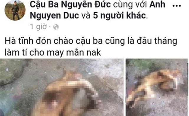 Dòng trạng thái trên Facebook của Cậu Ba Nguyễn Đức khoe cảnh giết khỉ để tiếp bạn