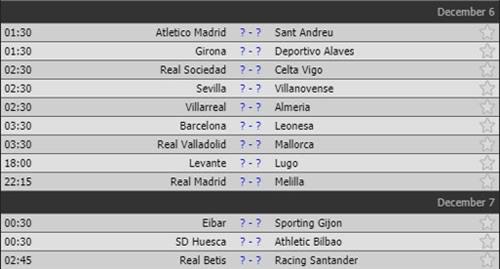 Lượt về vòng 1/16 Cúp Nhà vua Tây Ban Nha.