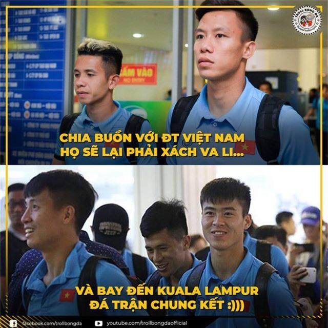 Thắng trận, đội tuyển Việt Nam sẽ phải xách vali... đi đá trận chung kết (Ảnh: Troll bóng đá)