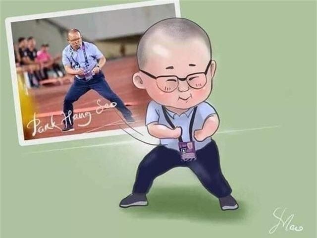 Hình ảnh khoảnh khắc ăn mừng của huấn luyện viên Park Hang Seo được vẽ lại theo phong cách cực đáng yêu