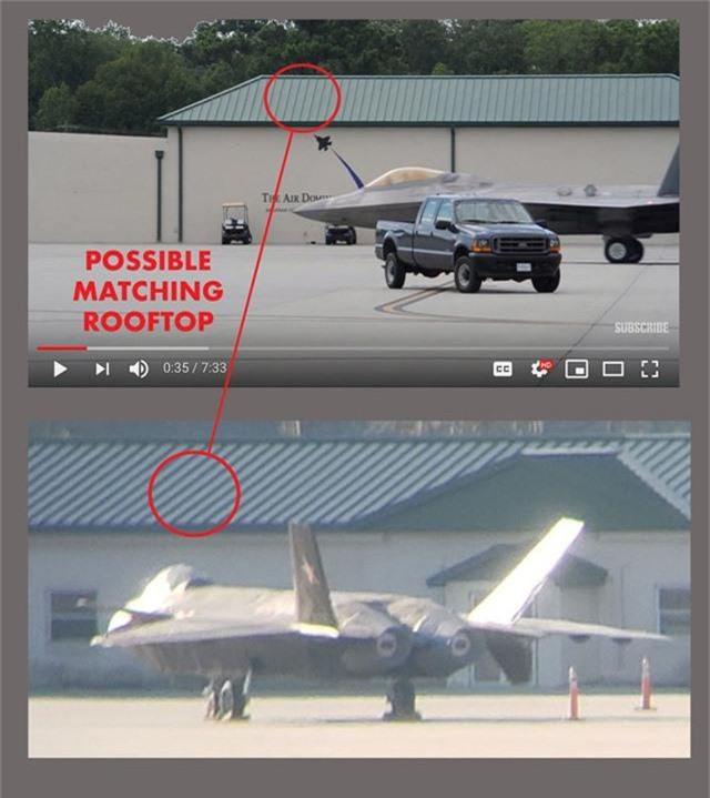 Những điểm tương đồng về mái nhà giữa bức ảnh được cho là chụp J-20 (dưới) với hình ảnh tại căn cứ Savannah-Hilton Head. (Ảnh: Aviationist)
