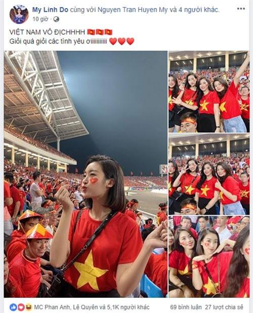 Hoa hậu Đỗ Mỹ Linh cũng tới sân Mỹ Đình cổ vũ ĐT Việt Nam. Cô tỏ ra rất phấn khích trước chiến thắng của đội quân áo đỏ.