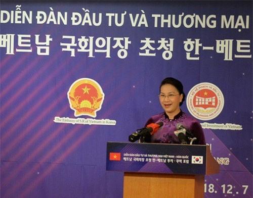 Chủ tịch Quốc hội Nguyễn Thị Kim Ngân phát biểu tại Diễn đàn Đầu tư và Thương mại Việt Nam - Hàn Quốc