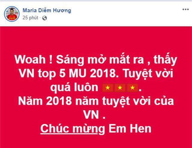 Hoa hậu Diễm Hương cũng rất bất ngờ trước thành tích của Hoa hậu Việt Nam và gửi lời chúc mừng đến Hhen Niê. Người đẹp cho rằng năm 2018 là năm tuyệt vời của Việt Nam.