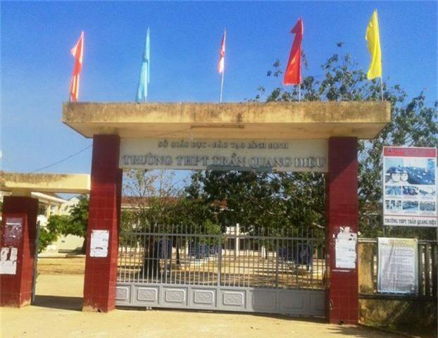 Trường THPT Trần Quang Diệu (huyện Hoài Ân, Bình Định), nơi xảy ra vụ việc.