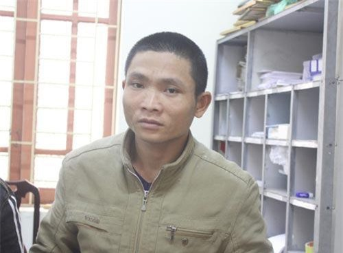 Đối tượng Bùi Văn Hổ tại Công an huyện Hưng Nguyên.