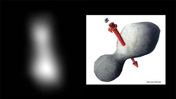 Hình ảnh về vật thể Ultima Thule do máy ảnh trinh sát tầm xa độ phân giải cao (LORRI) của New Horizons chụp (trái) và ảnh minh họa hình ảnh của Ultima Thule (phải) - Ảnh: NASA