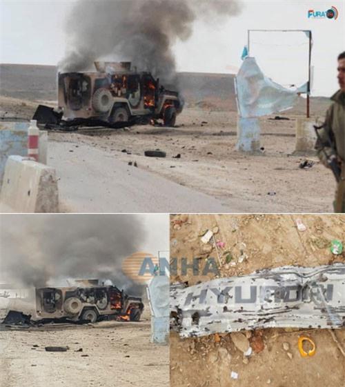 Chiếc xe đánh bom liều chết phát nổ gây hư hại các phương tiện xung quanh.