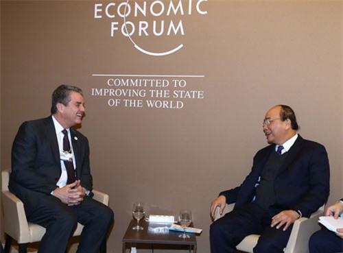 Thủ tướng Nguyễn Xuân Phúc tiếp Tổng Giám đốc WTO Roberto Azevêdo. Ảnh: Thống Nhất/TTXVN