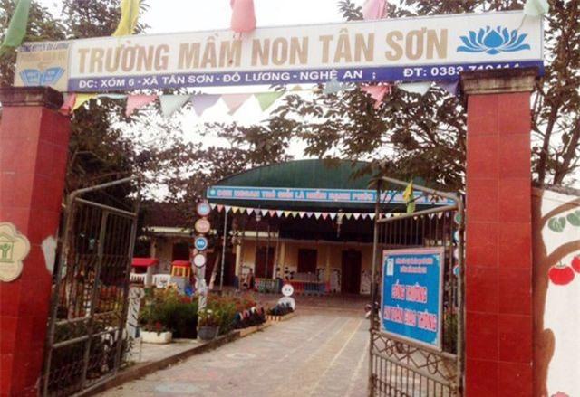Trường Mầm non Tân Sơn nơi xảy ra sự việc.