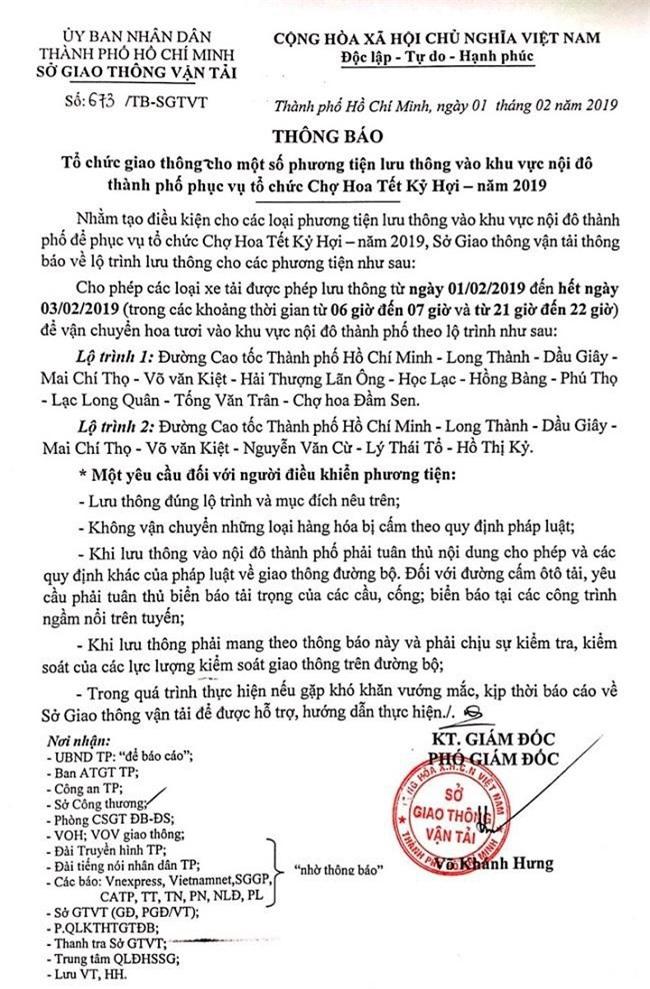 Thông báo của Sở Giao thông vận tải TP.HCM thắp thêm tia hy vọng cho mùa hoa tết của người dân Đà Lạt (Ảnh: VH)
