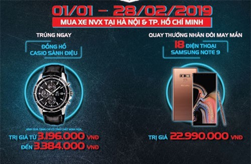 Chương trình khuyến mãi dành cho khách hành mua xe Yamaha NVX ở Hà Nội và TP.HCM.