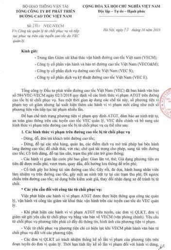 Và văn bản từ chối phục vụ do ông Nguyễn Văn Nhi- Phó tổng VEC ký