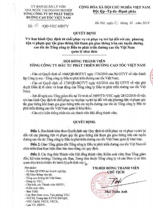 """Lộ cả Quyết định số 13 """"thừa hống hách"""" do ông Mai Tuấn Anh- Chủ tịch HĐTV VEC ký"""
