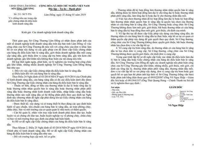 Văn bản khuyến cáo của Sở Công thương tỉnh Lâm Đồng (Ảnh: VH)