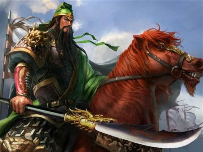 Quan Vũ cưỡi ngựa Xích Thố tay cầm Thanh Long Yển Nguyệt đao.