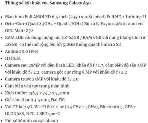 Cấu hình của Samsung Galaxy A50.