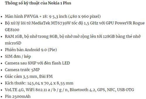 Cấu hình của Nokia 1 Plus.