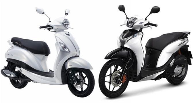 Honda SH Mode CBS và Yamaha Grande 2019.