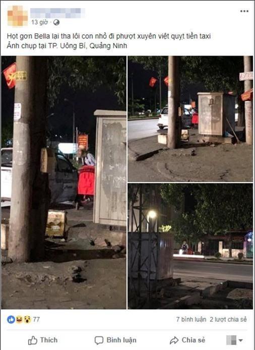 Lại xuất hiện hình ảnh hot girl Bella đưa con trai nhỏ đi lang thang trong đêm tối ở Quảng Ninh - Ảnh 1.