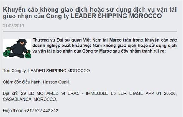Thương vụ Đại sứ quán Việt Nam tại Maroc đăng tải thông tin khuyến cáo doanh nghiệp xuất khẩu Việt Nam.