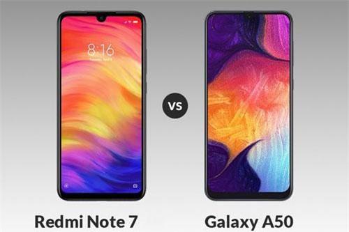 Xiaomi Redmi Note 7 và Samsung Galaxy A50 (phải).