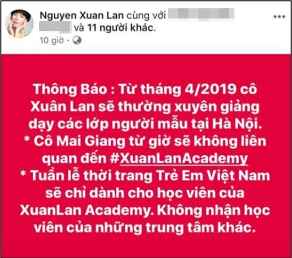 Xuân Lan tiết lộ Mai Giang không còn giảng dạy ở học viện của cô.