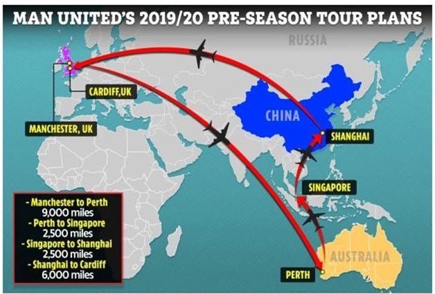 Sốc với quãng đường các ngôi sao MU di chuyển trong chuyến du đấu Hè 2019