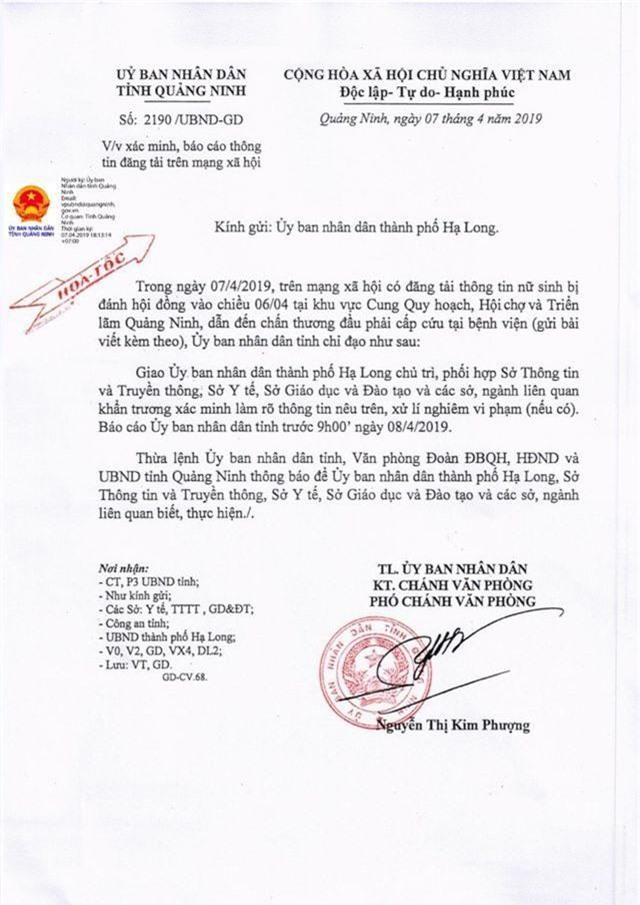Vụ nữ sinh THPT bị đánh hội đồng phải nhập viện: UBND Quảng Ninh chỉ đạo khẩn - 1