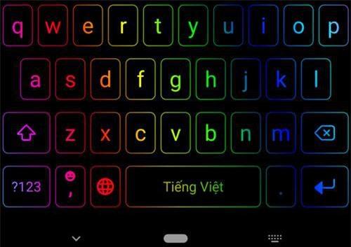 Bàn phím LED RGB trên smartphone Android.