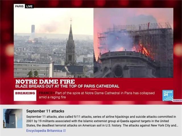 YouTube liên kết nhầm vụ cháy Nhà thờ Đức Bà Paris sang vụ khủng bố 11/9 - Ảnh 1.