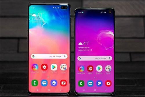 Samsung Galaxy S10 Plus và Galaxy S10 (phải).