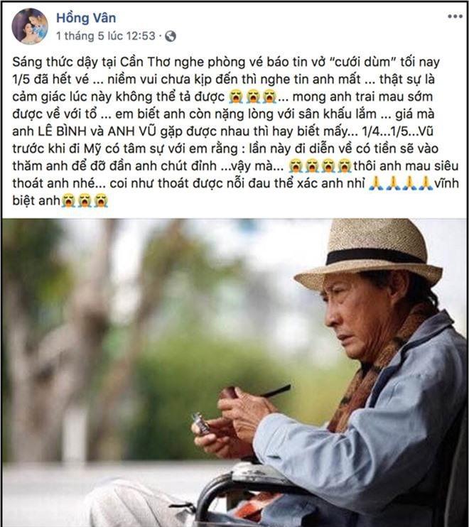 NSND Hồng Vân gửi lời tạ lỗi khi không thể tới tang lễ thắp nhang tiễn biệt nghệ sĩ Lê Bình, - Ảnh 3.