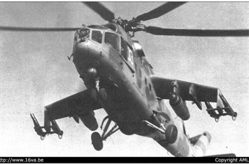 Trực thăng tấn công Mi-24 trang bị cặp động cơ Isotov TV3-117 cho tốc độ bay tối đa đến 335km/h, tầm bay 450km.